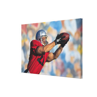 Football receiver catching ball canvas print