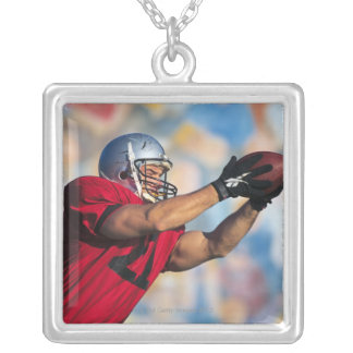 Football receiver catching ball silver plated necklace