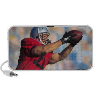 Football receiver catching ball travelling speakers