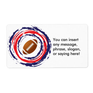 Football Red Blue And White Label
