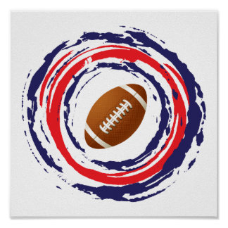 Football Red Blue And White Poster