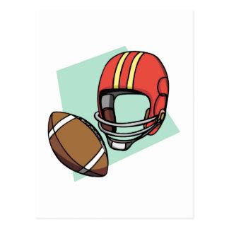 football red helmet postcard