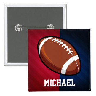 Football; Red, White, and Blue 2 Inch Square Button