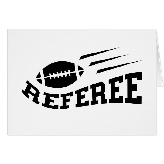 Football referee black on white with bouncing ball card
