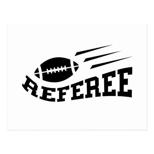 Football referee black on white with bouncing ball post cards