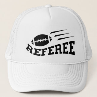 Football referee black on white with bouncing ball trucker hat