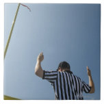Football referee calling field goal large square tile