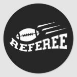 Football referee white on black with bouncing ball classic round sticker