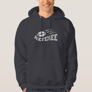 Football referee white on black with bouncing ball hoodie