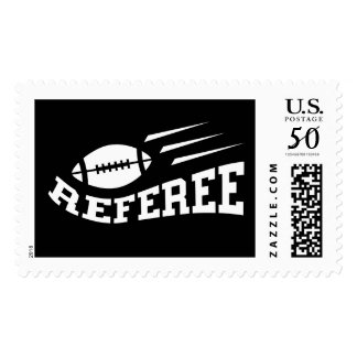 Football referee white on black with bouncing ball postage