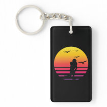 football retro sunset, #football keychain