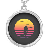 football retro sunset, #football silver plated necklace