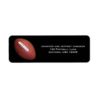 Football Return Address Labels on Black