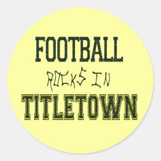 Football Rocks in Titletown1 Classic Round Sticker