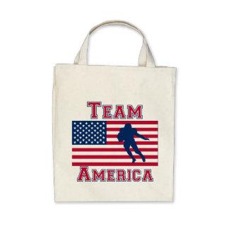 Football Running Back American Flag Team America Canvas Bags