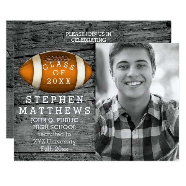 Football Rustic Photo Graduation Announcement