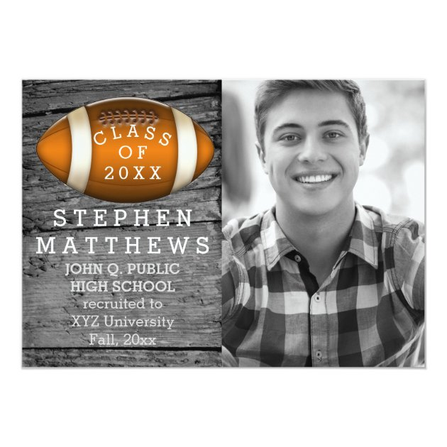 Football Rustic Photo Graduation Announcement (back side)