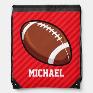 Football; Scarlet Red Stripes Drawstring Backpack