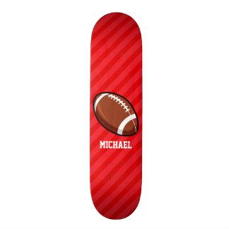 Football; Scarlet Red Stripes Skate Boards