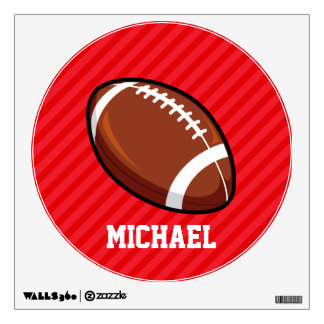 Football; Scarlet Red Stripes Room Decal