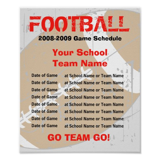 7 team schedule template - football schedule poster template zazzle