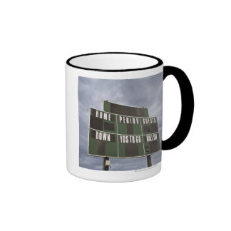 Football scoreboard and storm clouds. ringer coffee mug