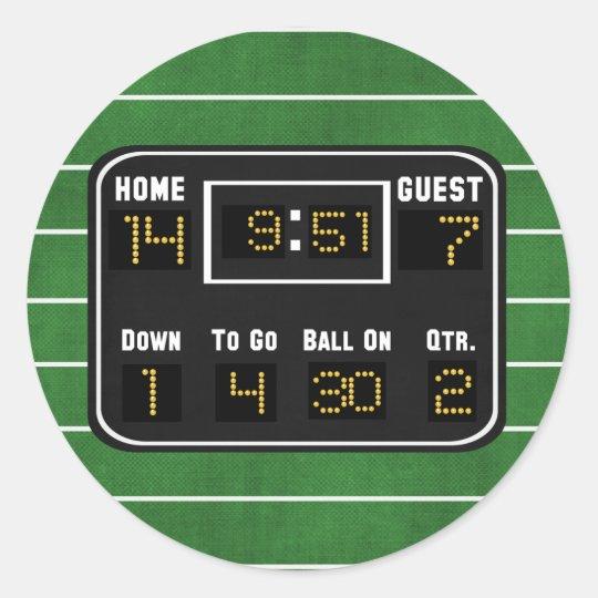 Football Scoreboard Classic Round Sticker