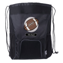 Football Silver Personalized Drawstring Backpack