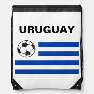 Football Sketch, Uruguay Flag Drawstring Backpack