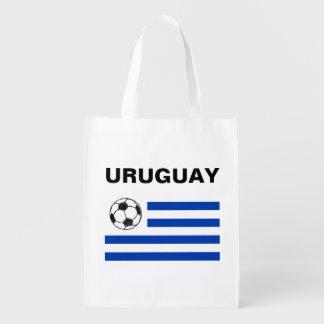 Football Sketch, Uruguay Flag Grocery Bags