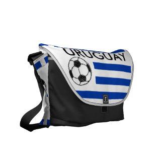 Football Sketch, Uruguay Flag Messenger Bag
