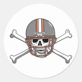 Football Skull And Crossbones Classic Round Sticker