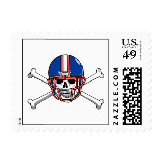 football skull and crossbones red and blue postage stamp