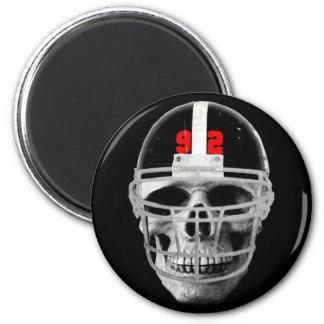 Football skull 2 inch round magnet
