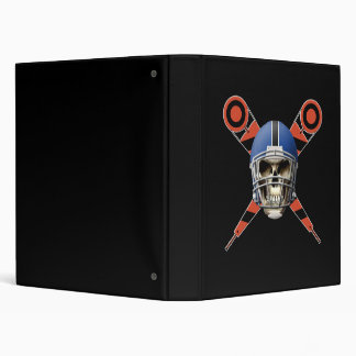 Football Skull with Helmet and Yard Markers 3 Ring Binder