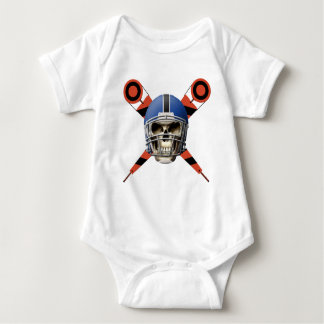 Football Skull with Helmet and Yard Markers Baby Bodysuit
