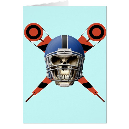 Football Skull with Helmet and Yard Markers Card