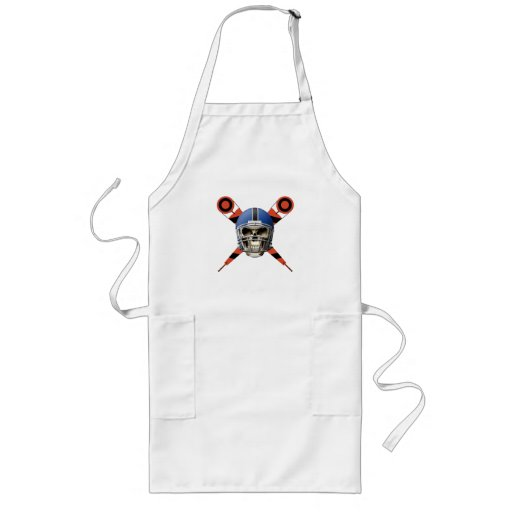 Football Skull with Helmet and Yard Markers Long Apron