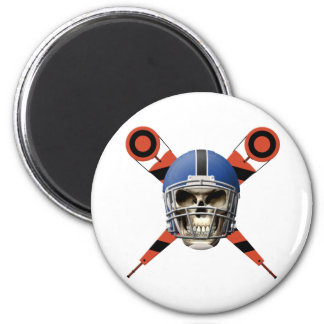 Football Skull with Helmet and Yard Markers Magnet
