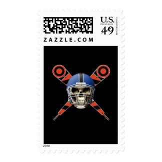 Football Skull with Helmet and Yard Markers Stamps