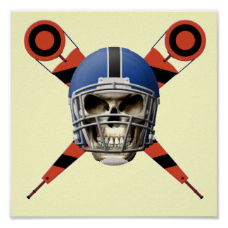 Football Skull with Helmet and Yard Markers Poster