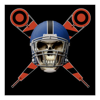Football Skull with Helmet and Yard Markers Print