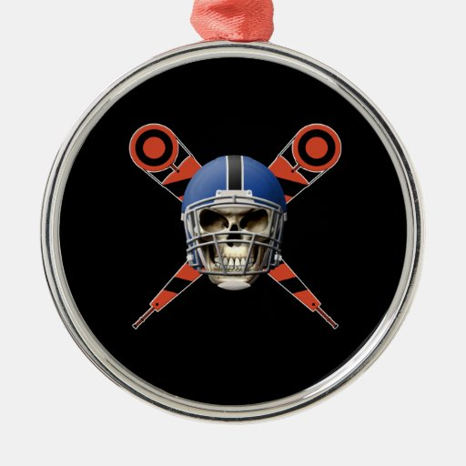 Football Skull with Helmet and Yard Markers Round Metal Christmas Ornament