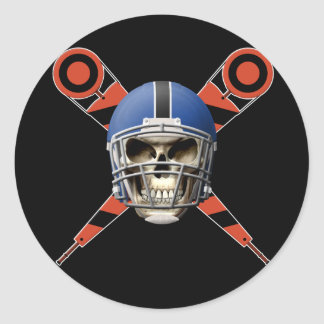 Football Skull with Helmet and Yard Markers Classic Round Sticker