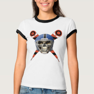 Football Skull with Helmet and Yard Markers T-Shirt