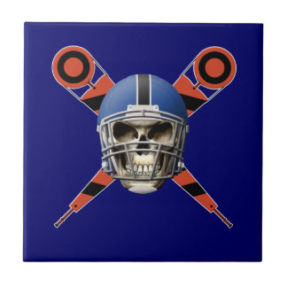 Football Skull with Helmet and Yard Markers Ceramic Tiles