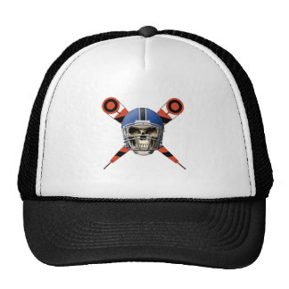 Football Skull with Helmet and Yard Markers Trucker Hat