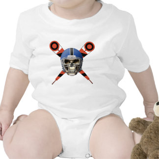 Football Skull with Helmet and Yard Markers Baby Bodysuits