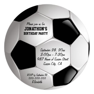"Football Soccer Ball Birthday Party 5.25"" Square Invitation Card"