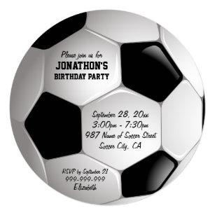 Football Soccer Ball Birthday Party Invitation